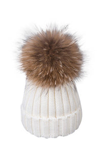 Fox Fur Cable-Knit Beanie