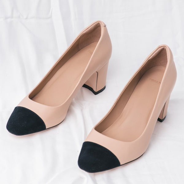 Two Tone Beige Black Leather Pumps