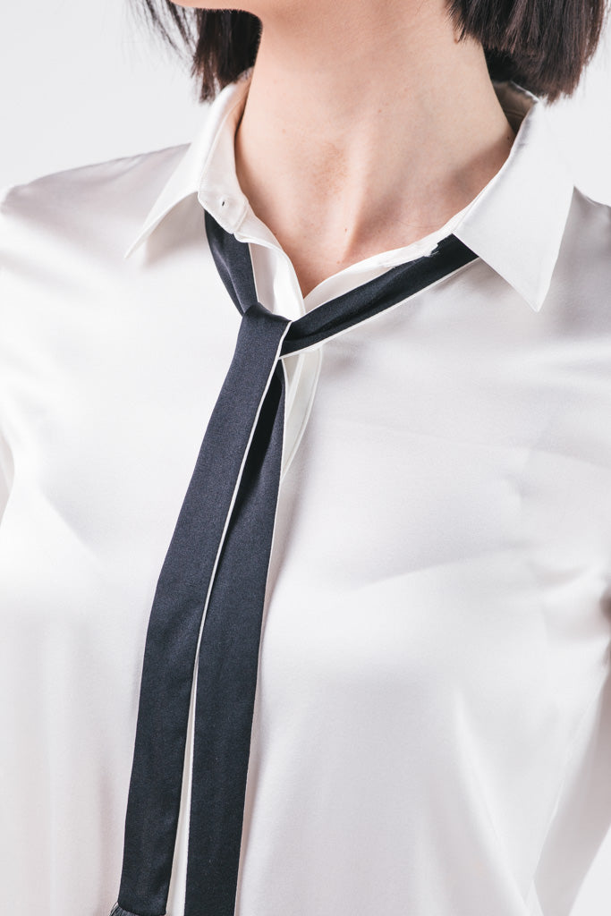Silk Shirt with Removable Sleek Tie