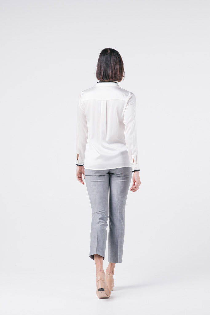 Contrast Trim Silk Shirt