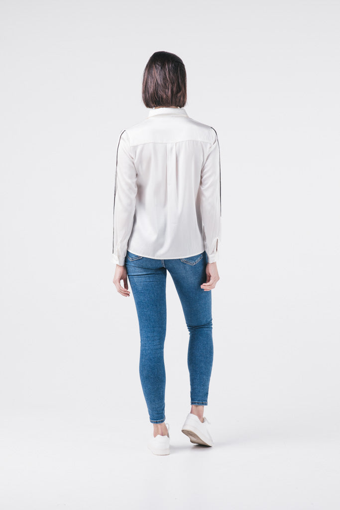 Silk Shirt With Contrast Trim Sleeves