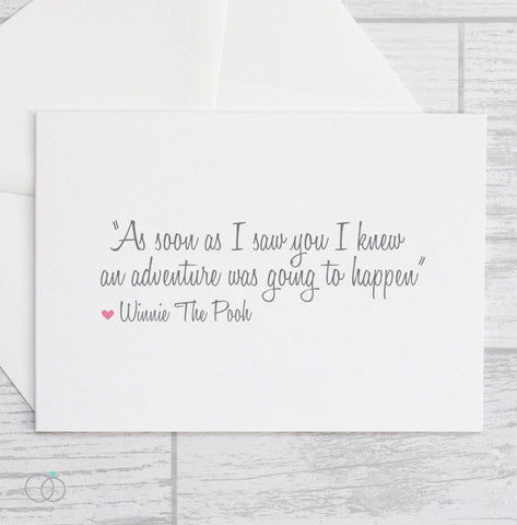 Winnie The Pooh Adventure Quote - Valentine's Day Card - LoveLi