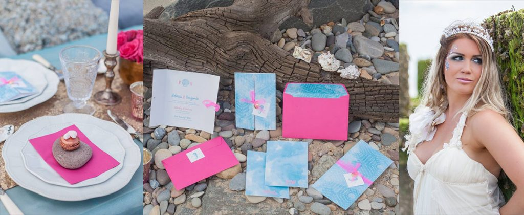 Sea Siren Styled Shoot - Blue and Pink wedding stationery