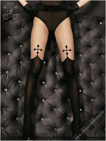 GOTHIC BLACK CROSS TIGHTS
