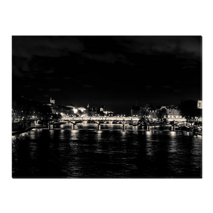 High Quality Paris Canvas Print - The Seine at Night | Paris Noir & Blanc