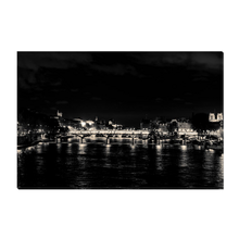 Load image into Gallery viewer, High Quality Paris Canvas Print - The Seine at Night | Paris Noir & Blanc