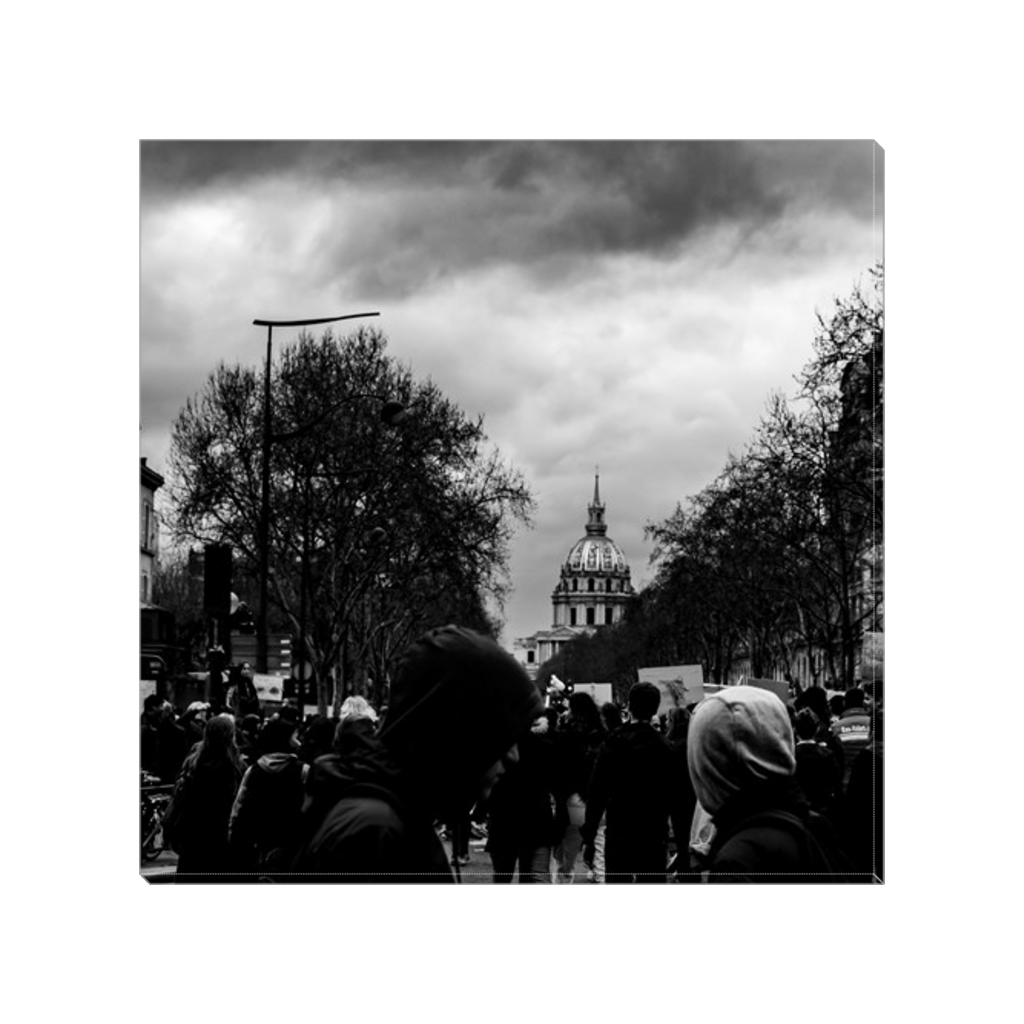 protests in paris canvas print