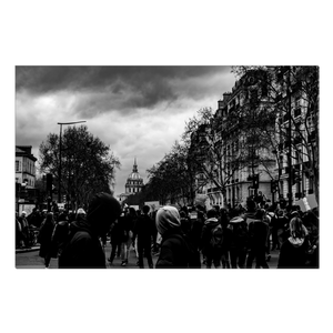 protests near the pantheon canvas print