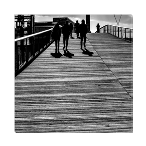 High Quality Paris Canvas Print - Shadows at Passerelle Simone De Beauvoir | Paris Noir & Blanc