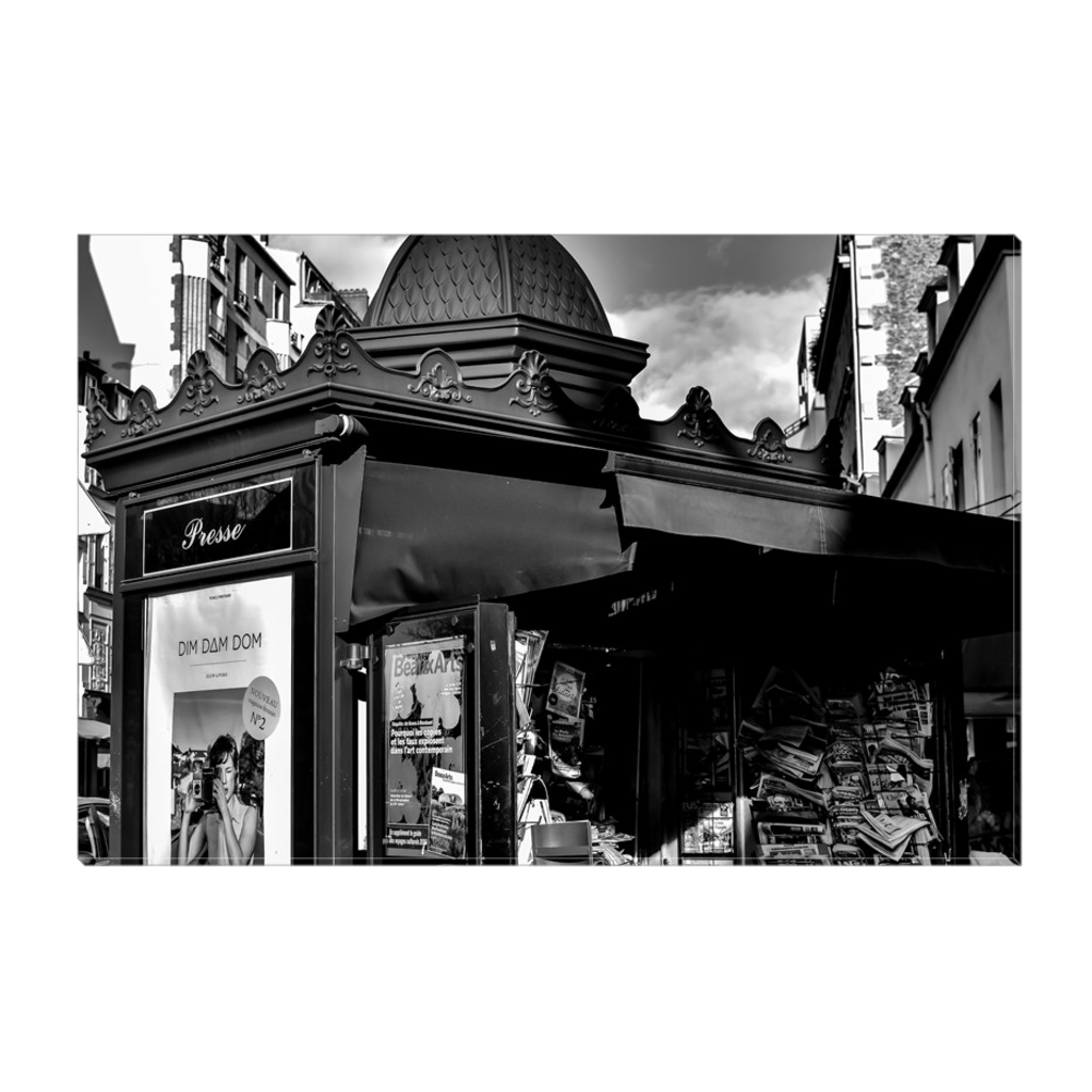 parisian newsstand canvas print