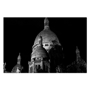 sacre-coeur towers at night canvas print