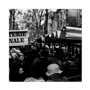 High Quality Paris Canvas Print - Typical Parisian Market | Paris Noir & Blanc