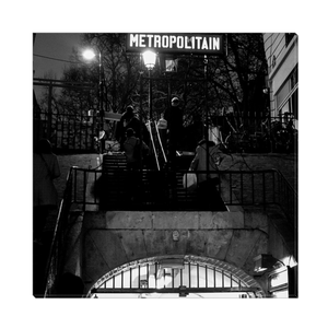 Lamarck - Caulaincourt Metro At Night canvas print