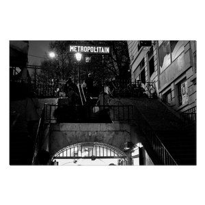High Quality Paris Canvas Print - Lamarck-Colaincourt Station in Monmartre | Paris Noir & Blanc