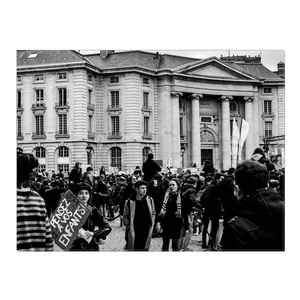 High Quality Paris Canvas Print - Protests Near The Pantheon | Paris Noir & Blanc