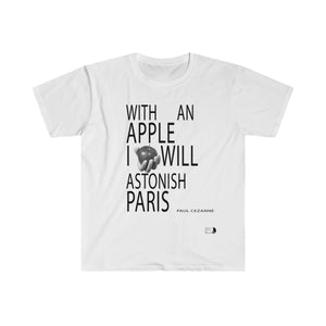 With An Apple | Men's Fitted Short Sleeve Tee | Paris Noir & Blanc