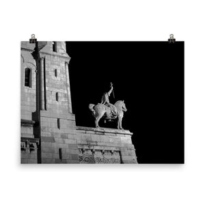 Museum Quality Poster | The Sacre-Coeur Horseman At Night | Paris Noir & Blanc