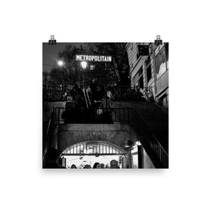 Museum Quality Poster | Metro Lamarck - Caulaincourt At Night | Paris Noir & Blanc