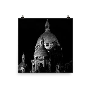 Museum Quality Poster | View of The Sacre-Coeur At Night | Paris Noir & Blanc