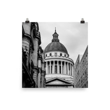 Load image into Gallery viewer, behind the pantheon paris noir blanc poster