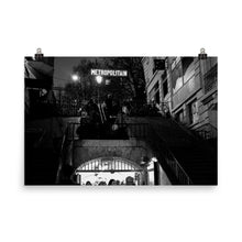 Load image into Gallery viewer, Museum Quality Poster | Metro Lamarck - Caulaincourt At Night | Paris Noir & Blanc