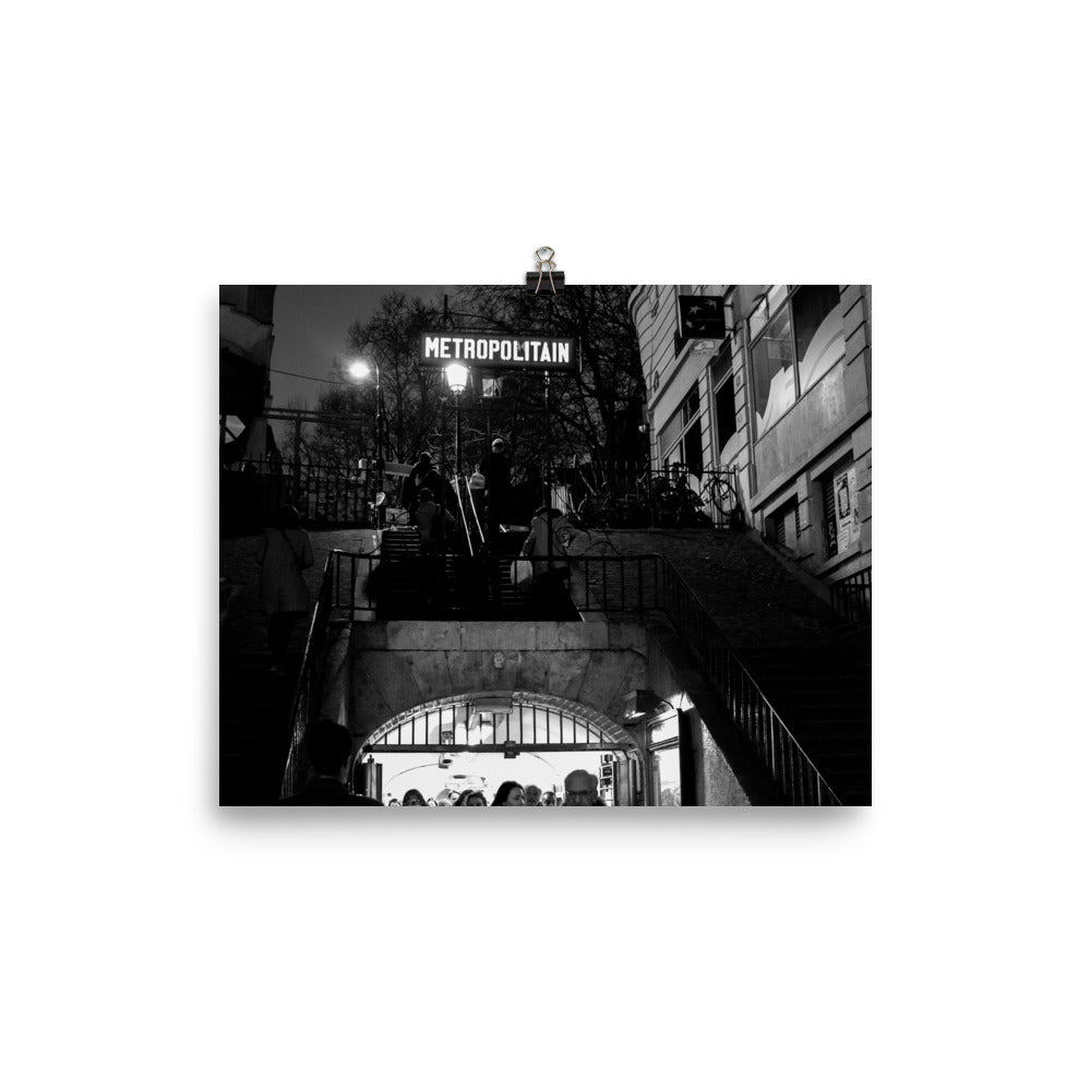 Lamarck - Caulaincourt Metro At Night poster