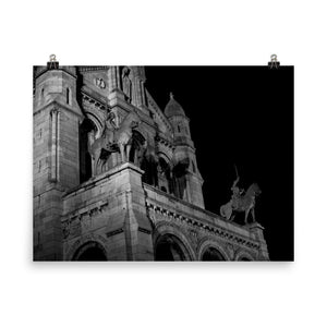 in front of the sacre-coeur at night poster
