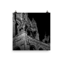 Load image into Gallery viewer, Museum Quality Poster | In Front of The Sacre-Coeur At Night | Paris Noir et Blanc