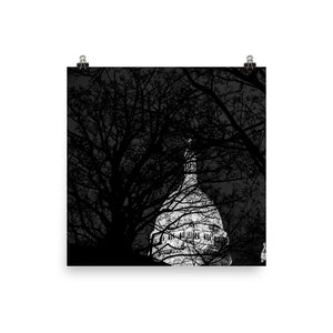 Museum Quality Poster | The Sacre-Coeur At Night | Paris Noir & Blanc