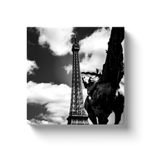 Load image into Gallery viewer, High Quality Paris Canvas Print - RIding Towards The Eiffel Tower | Paris Noir & Blanc