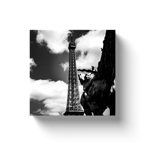 riding towards the eiffel tower canvas print
