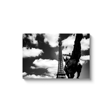Load image into Gallery viewer, riding towards the eiffel tower canvas print