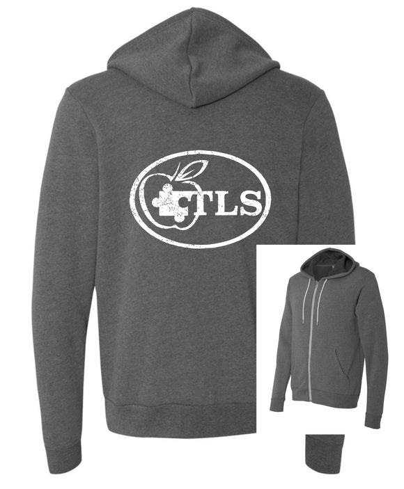 TLS Youth and Adult Full Zip Hoodie in Deep Heather