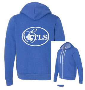 TLS Youth and Adult Full Zip Hoodie in True Royal Heather