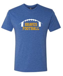 Braves - Soft Royal Heather Football T-Shirt