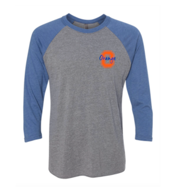 Orange Baseball Tee with Raglan Sleeves