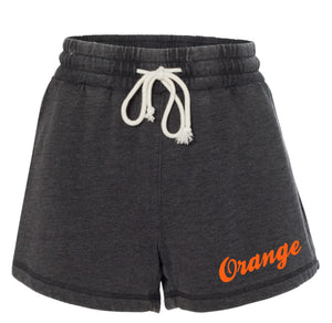 Orange Enzyme Washed Rally Shorts