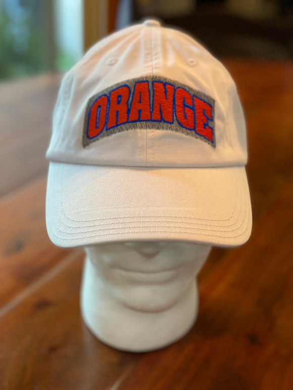 White Twill Hat with Orange Patch Logo