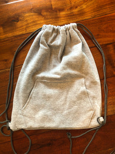 Gray knit drawstring bag