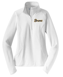 White Braves Ladies Performance 1/4 Zip