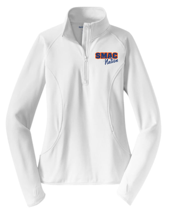 SMAC Basketball Ladies Cut White Performance 1/4 Zip