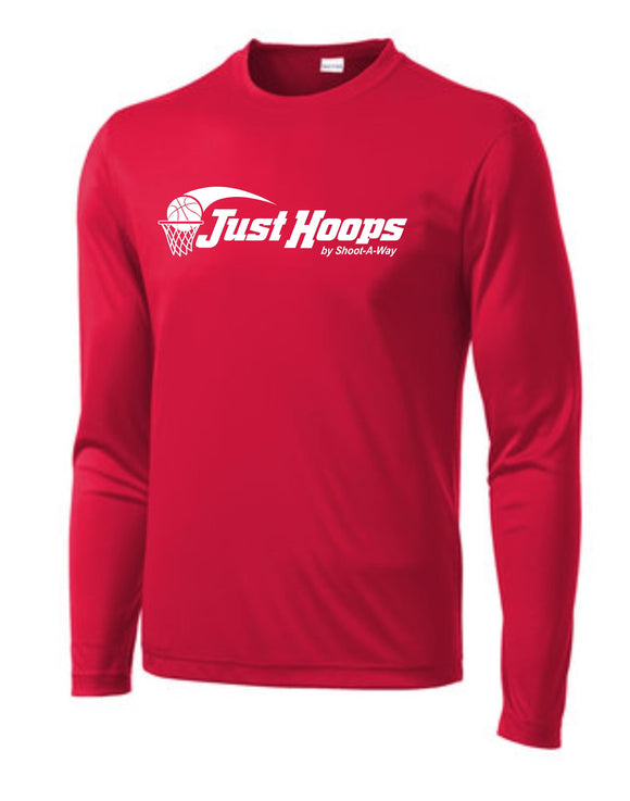 Just Hoops Adult Sport-Tek Long Sleeve Tee - Red