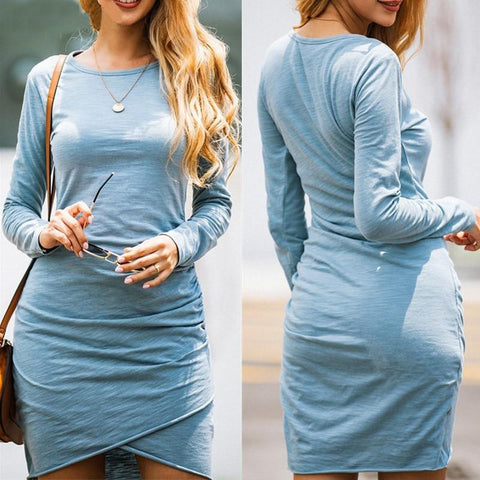 Women's Mini Slim Dress Bodycon Solid Tunic