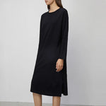 Women Round Neck Solid Dress