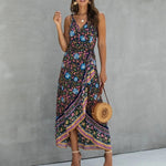 Women Floral Print Beach Slim Fit Dress