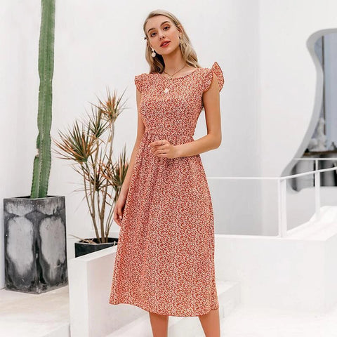 Women's Floral Midi Dress Beach Summer Dress