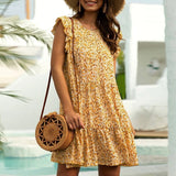 Women's Floral Print Dress Beach Mini Dress