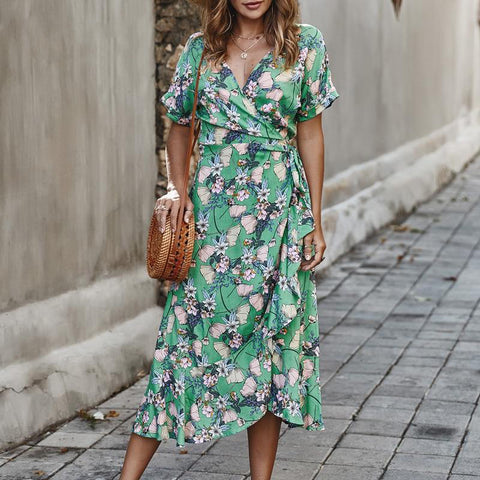 V-Neck Floral Print Dress Ruffled Beach Dress