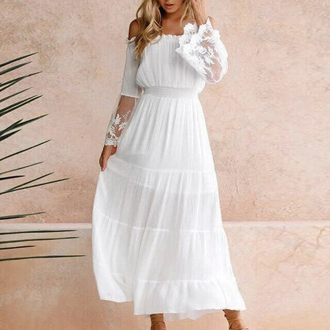 Off Shoulder High Waist Dress Evening Beach Midi