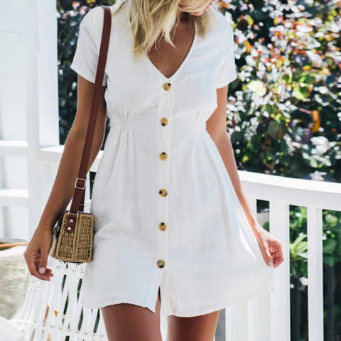 V-Neck Casual Buttoned Beach Dress